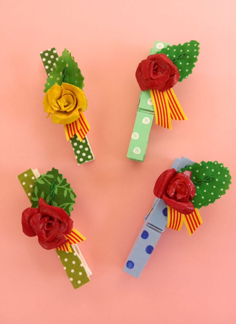 Els imants de pinça decorats amb una rosa, Fes que la teva nevera sigui més bonica.